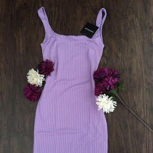 Scoop Neck Rib Knit Lilac Bodycon mini Dress
